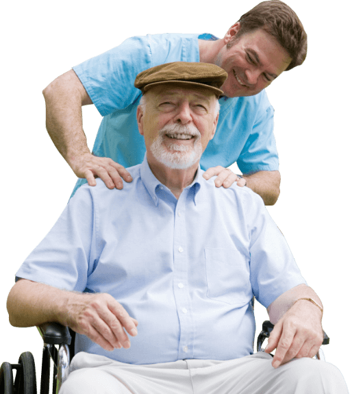 caregiver giving a massage to elderly patient
